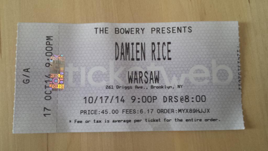 Damien Rice Ticket