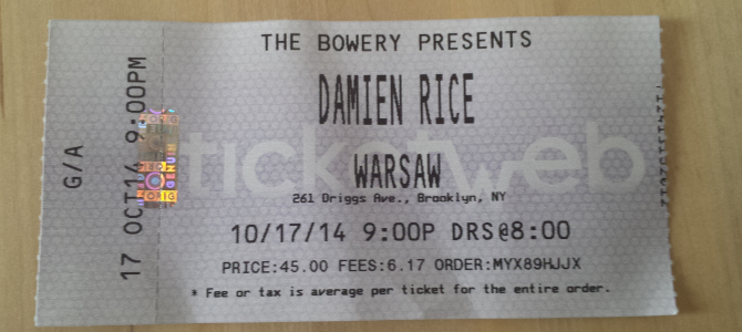 A Day in New York and a Damien Rice Concert